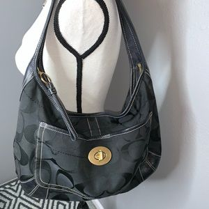 Coach black hobo purse gold hardware turn lock